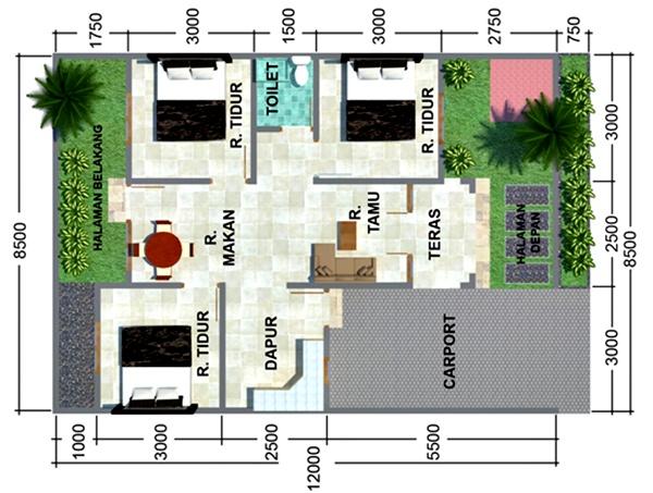 Desain Denah Rumah Minimalis 1 Lantai Type 36