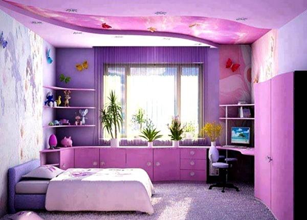 Kamar Tidur Anak Perempuan Sederhana Warna Ungu