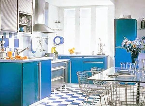 Motif Keramik Dapur Perpaduan warna biru