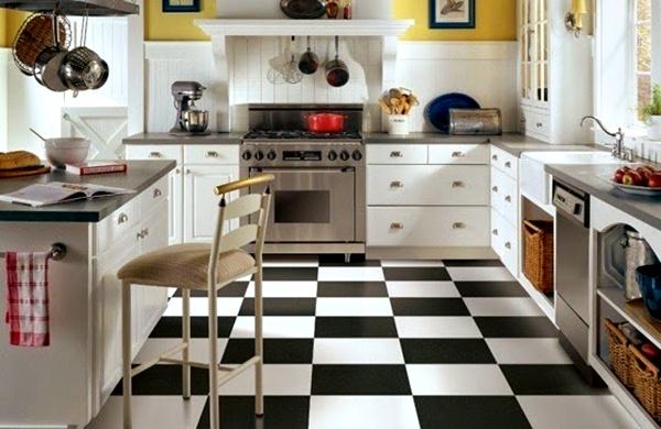 Motif Keramik Lantai Dapur hitam dan putih