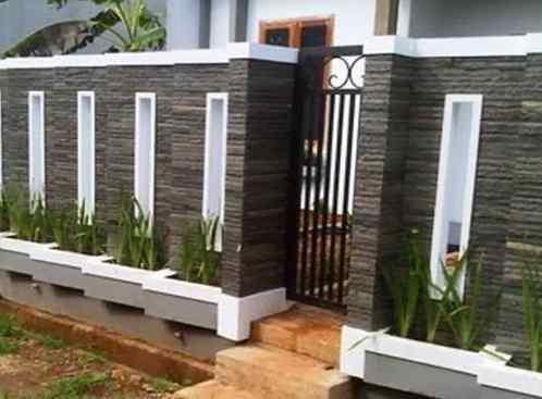 Pagar Rumah Minimalis Batu Alam 6 - 22 Gambar Pagar Rumah Minimalis Batu Alam Terbaru 2018