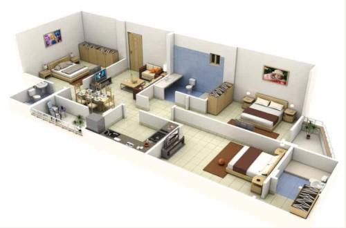 Denah Rumah Minimalis 1 Lantai 3 Kamar Tidur 2