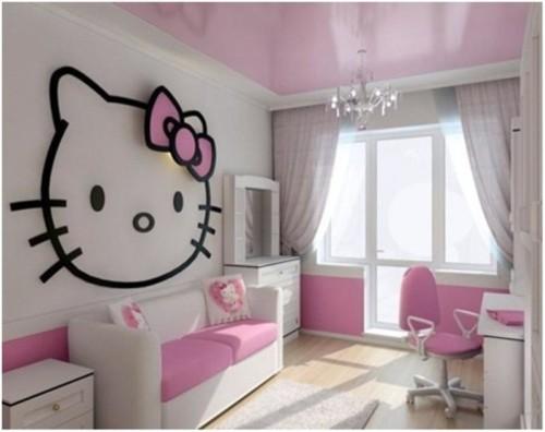 Desain Kamar Tidur Anak Perempuan Hello Kitty 5 - 22 Desain Kamar Tidur Anak Perempuan Frozen, Hello Kitty, Barbie