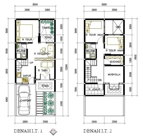 Denah Rumah Ukuran 6x9 2 Lantai