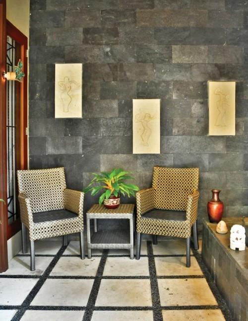 Dinding Teras Rumah Minimalis Batu Alam