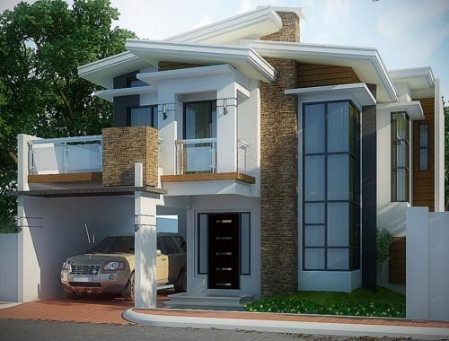 30  Gambar Tampak Depan Rumah Minimalis 2 Lantai Modern