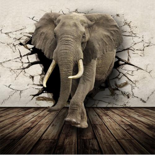 Lukisan 3D Gajah dari Lubang