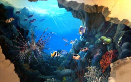 Lukisan 3D Pemandangan Dalam Laut