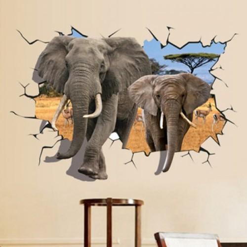 Lukisan Dinding 3D Gajah