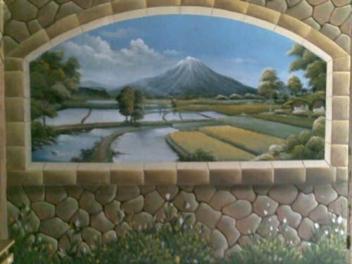Lukisan Dinding 3D Gunung dan Persawahan