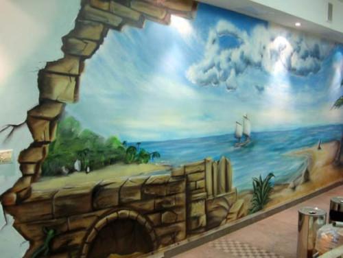 20 Gambar Lukisan Dinding Ruangan 3d Pemandangan Alam Hewan Pantai
