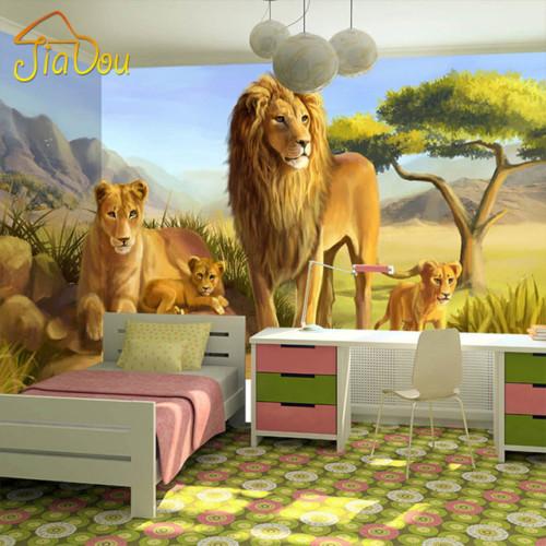 Lukisan Dinding Kamar 3D Singa