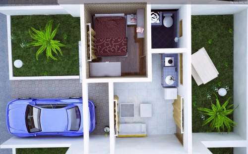 Denah Rumah Minimalis Tipe 21 dengan Garasi