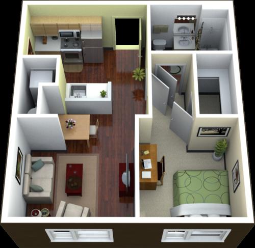 Desain Apartemen 1 Kamar Tidur