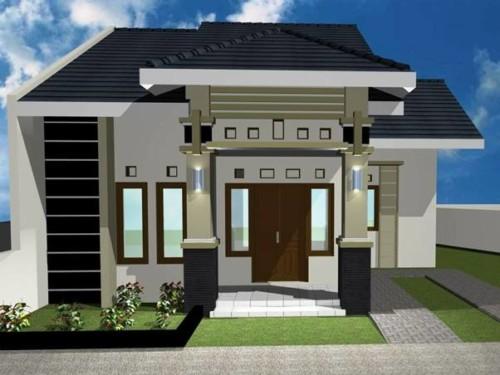 Rumah dengan warna cream dan hitam