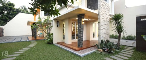 Teras Rumah Mewah Minimalis Batu Alam