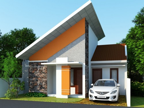 Rumah minimalis dengan atap miring