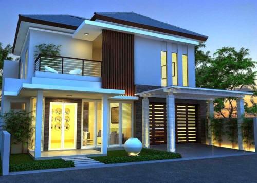 Rumah minimalis dua lantai modern