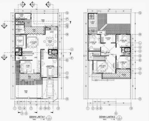 Sketsa Denah Rumah 2 Lantai Ukuran 6x9
