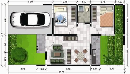 Denah Rumah Type 45 dengan Garasi Mobil