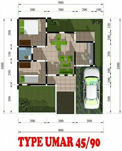Sketsa Denah Rumah Minimalis Type 45